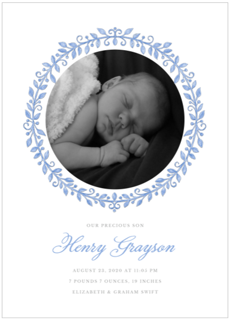 Blue Painted Precious Birth Announcement