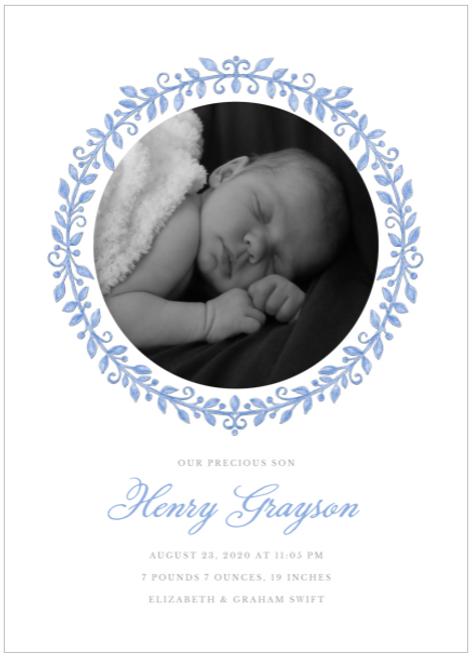 Blue Painted Precious Birth Announcement
