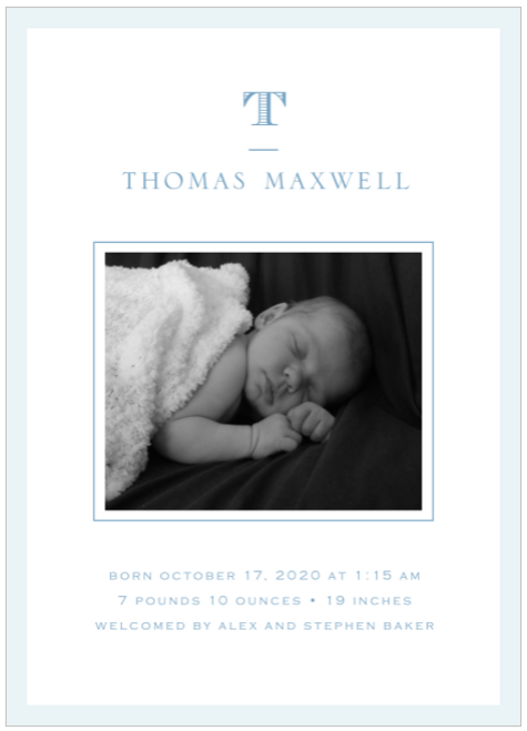 Blue Perfectly Framed Birth Announcement