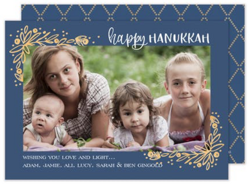 Golden Vines Hanukkah Corner Frame Holiday Card