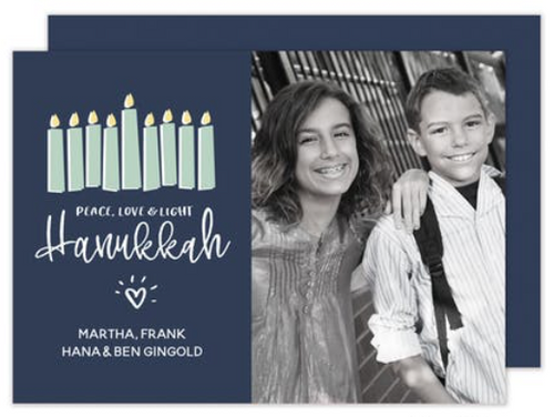 Peace, Love & Light Hanukkah Holiday Card