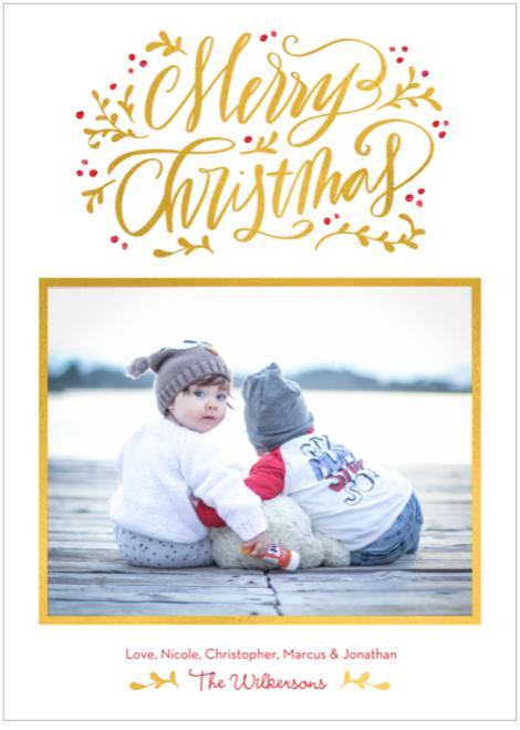 Scripted Season Foil Holiday Card