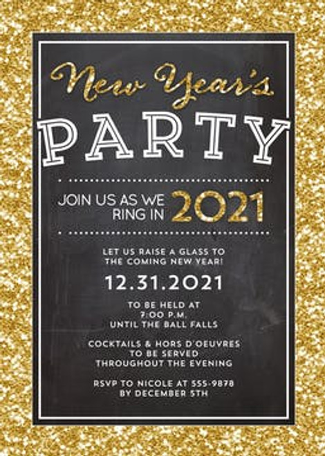 Shimmering Chalkboard Holiday Event Invitation