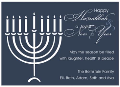 Menorah on Blue Holiday Greeting Card