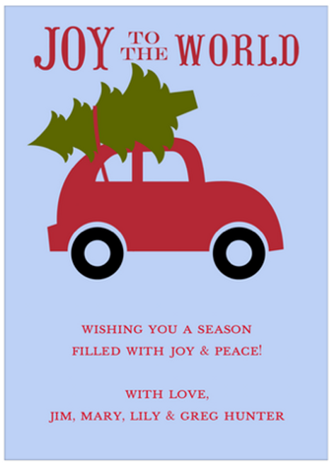 Joy to the World Blue Holiday Greeting Card