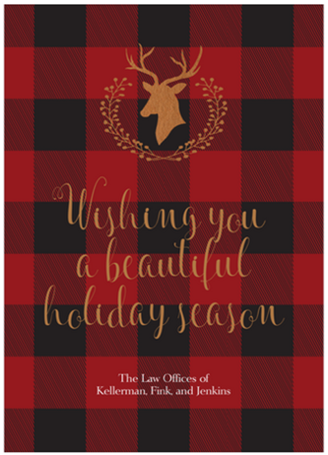 Buffalo Plaid Deer Silhouette Flat Greeting Card