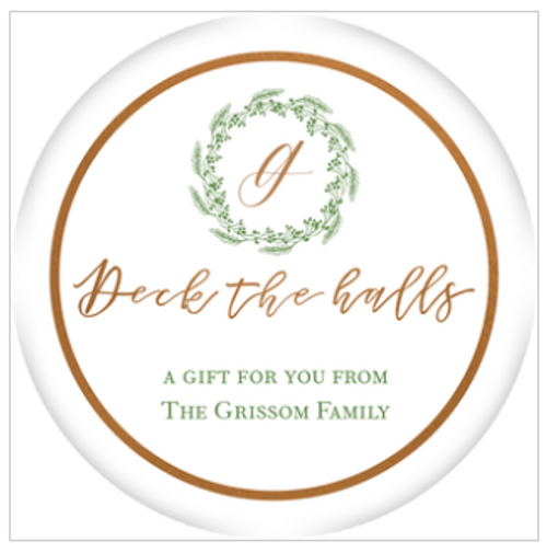 Wreath Deck the Halls Holiday Gift Sticker