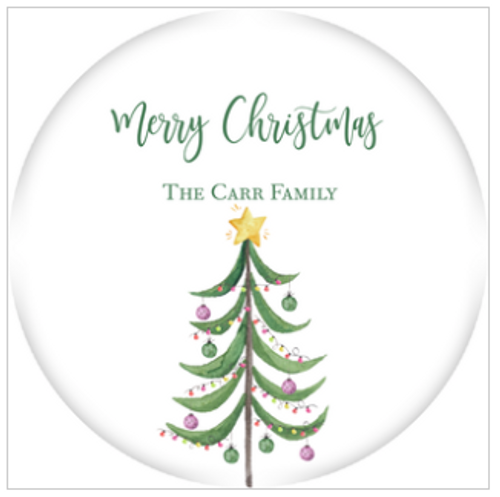 Modern Tree Holiday Gift Sticker