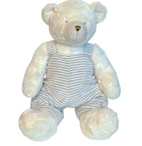Teddy Bear with Grey and White Overalls