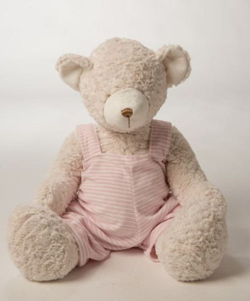Teddy Bear with Pink and White Overalls