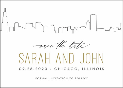 Outlined Skyline: Save the Date