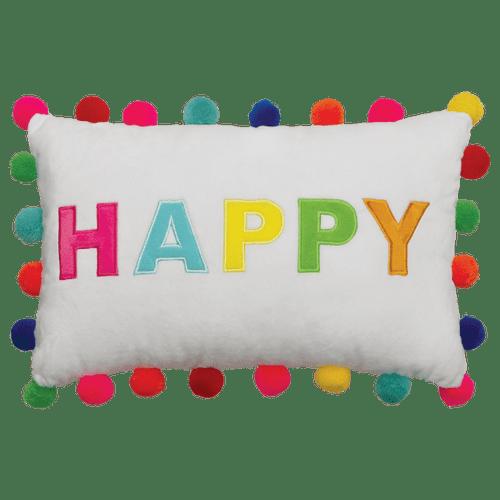 Happy Pom Pom Pillow