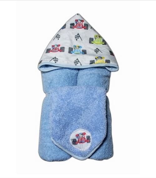 Race-car Hooded Towel and Washcloth Set