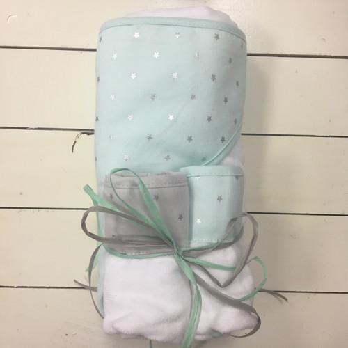 Teal Hooded Towel and Washcloth Set