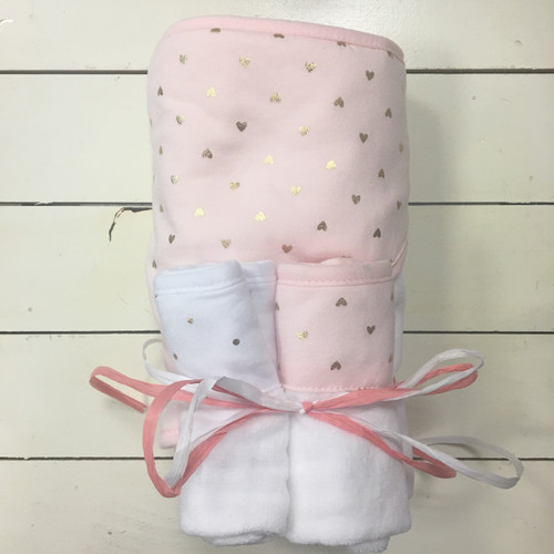 Pink Hooded Towel and Washcloth Set