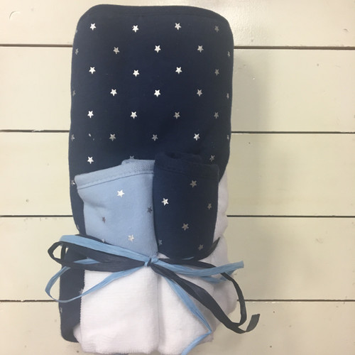 Navy Hooded Towel and Washcloth Set