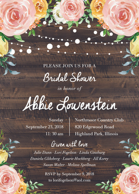 Wood And Floral Invitation