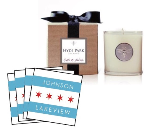Chicago Neighborhood Candle and Coaster Set