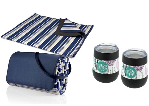 Picnic Blanket and Wine Glass Set