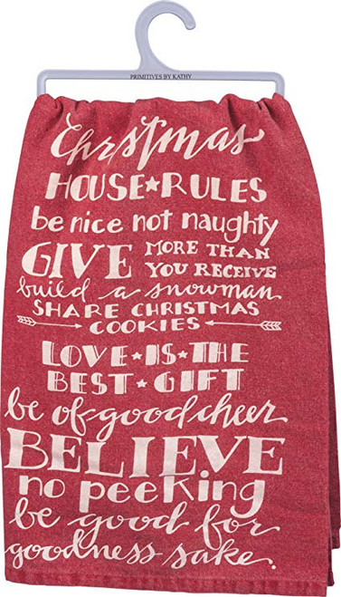 Christmas House Rules Dish Towel