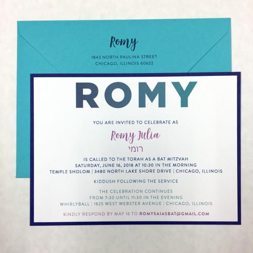 Romy: Bat Mitzvah Invitation