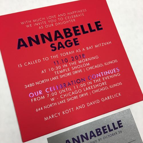 Annabelle: Bat Mitzvah Invitation