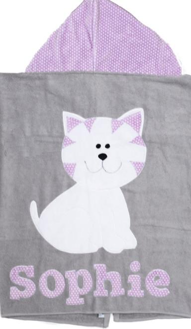 Lavender Kitty Hooded Towel