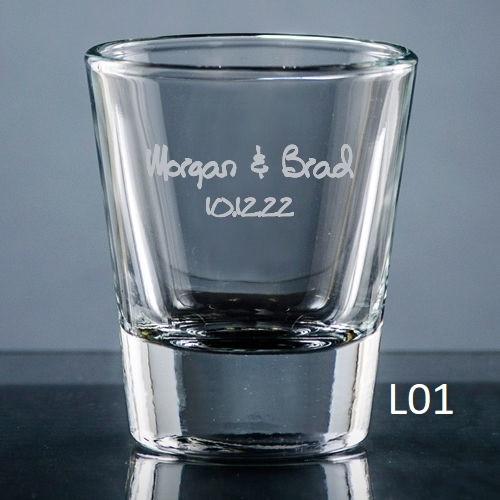 Palacio Shot Glass - 7 fonts