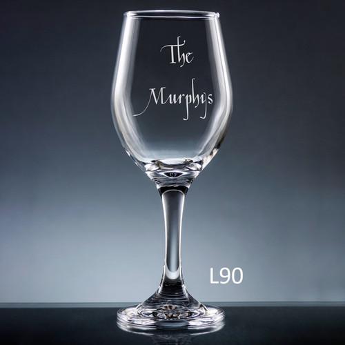 Iguala Wine Glass- 10 fonts