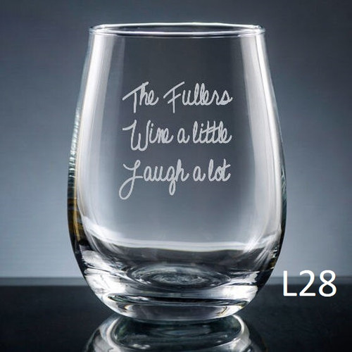Iguala Stemless Wine Glass- 10 fonts