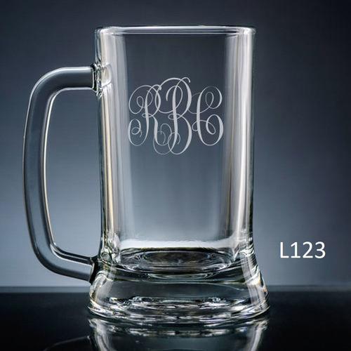 Altamira Monogram Beer Mug Glass - 10 Fonts