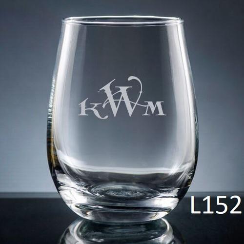 Altamira Monogram Stemless Wine Glass- 10 Fonts