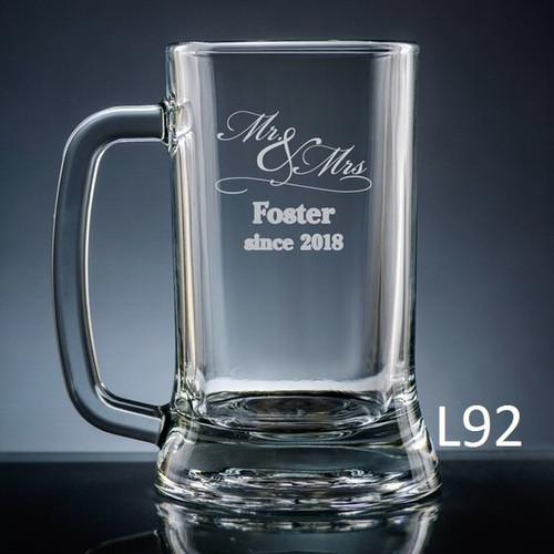 Matrimony Beer Mug Glass- 3 Fonts