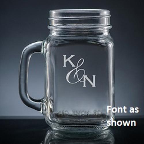Amor Initials Mason Jar Glass