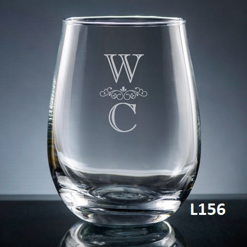 Pareja Stemless Wine Glass- 5 fonts