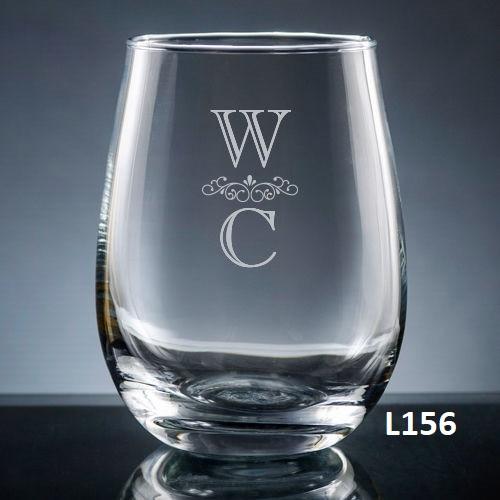 Pareja Stemless Wine Glass- 5 fonts
