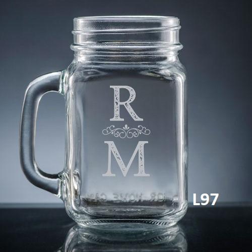 Pareja Mason Jar Glass- 5 fonts