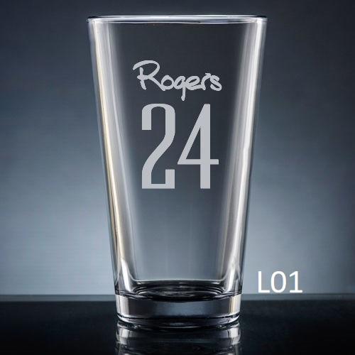Numero Pint Glass - 10 fonts