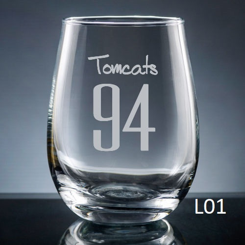 Numero Stemless Wine Glass - 10 fonts