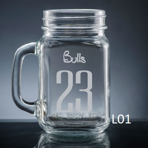 Numero Mason Jar Glass - 10 fonts