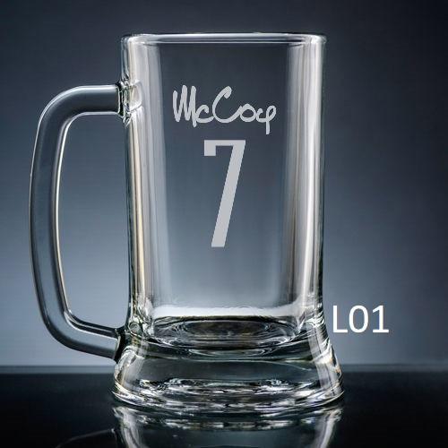 Numero Beer Mug Glass - 10 fonts