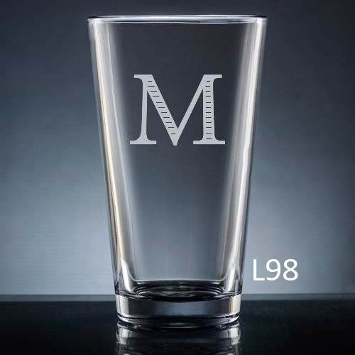 Sencillo Pint  Glass - 10 fonts