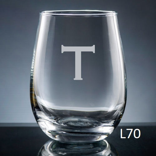 Sencillo Stemless Wine Glass - 10 fonts