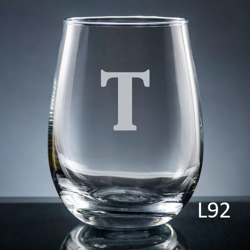 Sencillo Stemless Wine Glass - 10 fonts