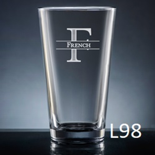 Ensenada Pint Glass - 10 Fonts
