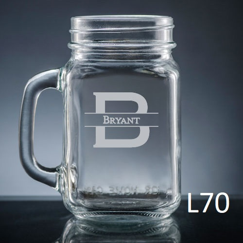 Ensenada Mason Jar Glass - 10 Fonts