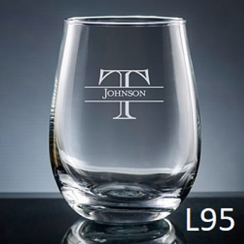 Ensenada Stemless Wine Glass - 10 Fonts