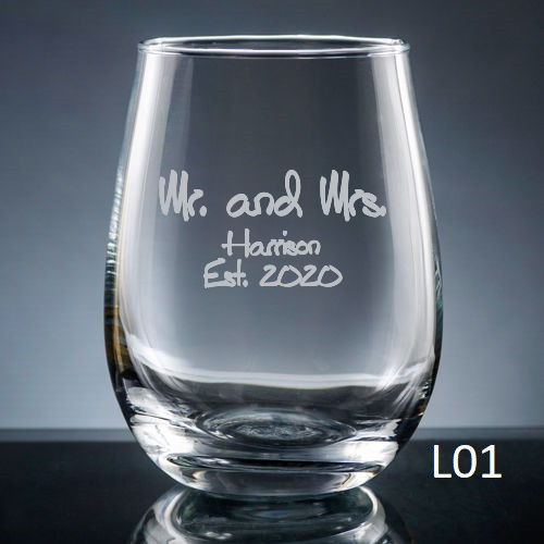 Palacio  Stemless Wine Glass - 7 fonts