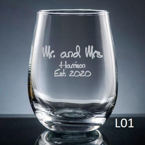 Palacio  Stemless Wine Glass - 7 fonts