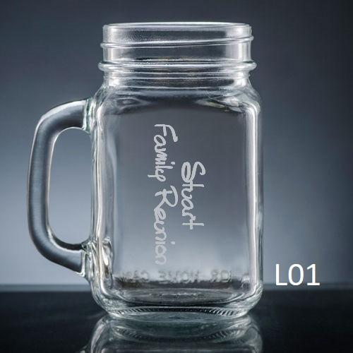 Colima Mason Jar Glass - 10 fonts
